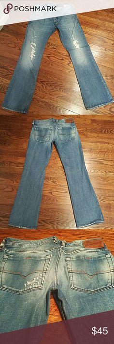 DIESEL mens denim DIESEL mens light blue straight leg distressed denim in excellent condition. Worn twice. 32x32 100% cotton Diesel Jeans
