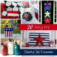 20 Easy DIY Fourth of July Decorations  #fourhtofjuly #memorialday #redwhiteandblue #patriotic