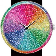 Dior rainbow watch is soooo gorgeous! Would be so sad though, if any of the stones ever fell out~