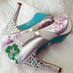 Wedding Shoes silver tiffany blue soles clover crystals. $305.00, via Etsy.