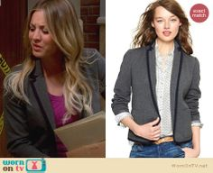 Penny's grey trimmed blazer on The Big Bang Theory. Outfit Details: http://wornontv.net/25098 #TheBigBangTheory #fashion