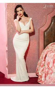 Laura Byrnes- The Laura Byrnes Gilda Gown in Ivory Velvet | Pinup Girl Clothing
