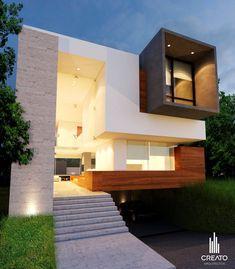 Cubo madera concreto #fachadasminimalistasconcreto