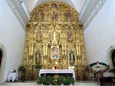 The gilded altar in the Parroquia de Nuestra Señora del Rosario in El Rosario, Sinaloa, Mexico, is a masterpiece of the Spanish Baroque style.