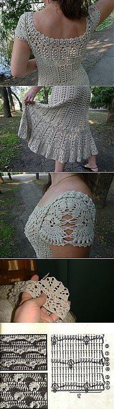 Crochet sweater dress pattern buttons ideas for 2019 Crochet Buttons, Crochet Shirt, Crochet Cardigan, Knit Dress, Free Buttons, Sweater Dresses, Crochet Headband Pattern, Crochet Lace Edging, Crochet Patterns