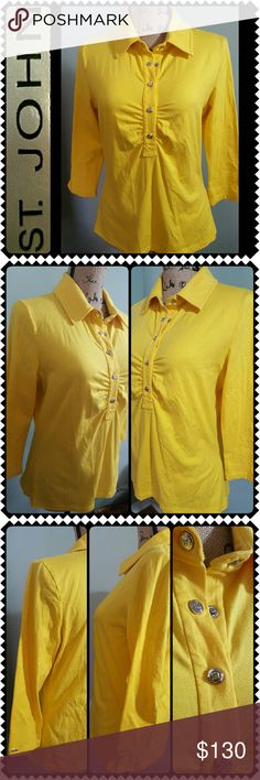 St. John Sport Collared Top St. John Designer Brand, Sport Style by Marie Gray in Gorgeous Yellow In Long Sleeves! Made in USA, Features Collared Style with Silver Tone SJ Metal Logo Snap Buttons Closure in Front! Like New Condition! Perfect Luxury Top for all Year Round Use! St. John Tops