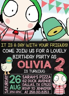 Sarah And Duck Birthday Party Invitation by DreamsDigital on Etsy