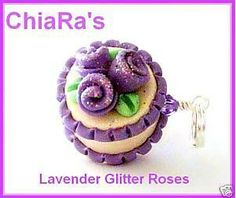 Lavender Glitter Rose Polymer Clay Cake  by CharmthisClayCharms, $4.00