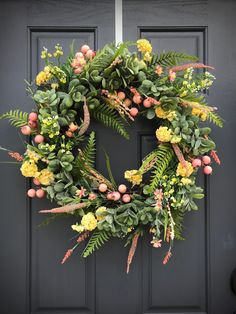 Spring Wreaths Pink and Green Wreath Succulent Wreath Spring Door Decor Spring Door Wreaths Pink Green Yellow Door Wreaths Fern Wreaths Green Wreath, Floral Wreath, Spring Door Wreaths, Yellow Doors, Succulent Wreath, Grapevine Wreath, Grape Vines, Pink And Green, Succulents