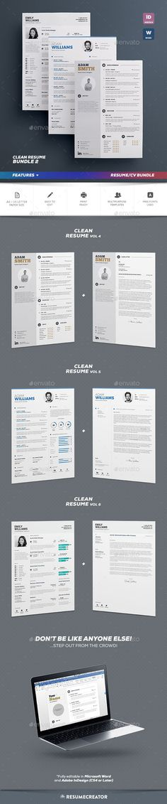 Clean Resume Bundle Vol.2 — InDesign INDD #references #cover letter • Available here → https://graphicriver.net/item/clean-resume-bundle-vol2/14918505?ref=pxcr