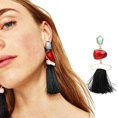 JUJIA 3 COLORS FIRENZE FRINGE DROPS EARRINGS FOR WOMEN STATEMENT MULTICOLOURED POMPOM EARRINGS DANGLE EARRINGS JEWELRY