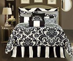 Black and White Damask Bedroom | Rose Tree, Designer oversize black and white comforter, formal damask ...