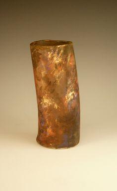 Raku Pottery Ceramic Raku Vase with Gold and Copper by PCanPotter, $34.52