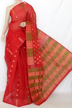 Red Handwoven Bengal Tant Cotton Saree (Without Blouse) Jamdani 13867