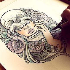 hmmm maybe something like this but like with a wolf where the skull is and a skull where the girl is and take the green leaves out, just leave the roses... yeah... That's it