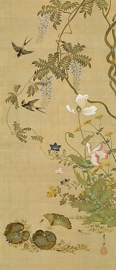 Suzuki Kiitsu /  Birds and Flowers / 1855