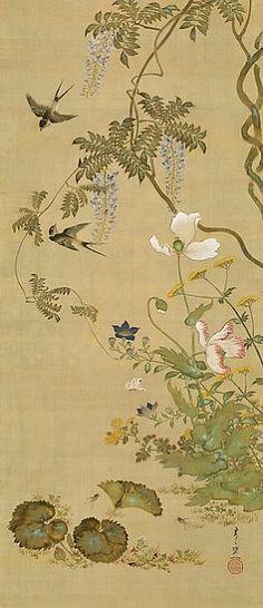 Suzuki Kiitsu /  Birds and Flowers / 1855