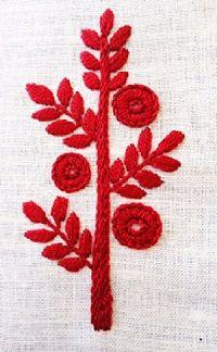 Borduren op breiwerk Tree of Needlework