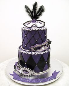 Purple, black and silver masquerade cake! Great for a sweet 16!