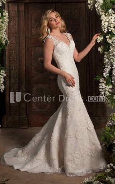 $151.59-Beautiful Mermaid Sleeveless V-Neck Appliqued Lace Wedding Dress. http://www.ucenterdress.com/mermaid-sleeveless-v-neck-appliqued-lace-wedding-dress-with-brush-train-pMK_706137.html.  Shop for Best wedding dresses, Lace wedding dress, modest wedding dress, strapless wedding dress, backless wedding dress, wedding dress with sleeves, mermaid wedding dress, plus size wedding dress, We have great 2016 fall Wedding Dresses on sale. Buy Wedding Dresses online at UCenterDress.com…