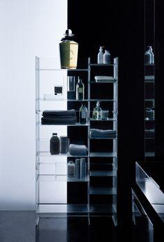 More storage with Sound-Rack Freestanding Bathroom Cabinet - Kartell Modern Bathroom Decor, Bathroom Furniture, Bathroom Interior, Bathroom Storage, Locker Storage, Design Bathroom, Basement Bathroom, Washroom, Bathroom Styling