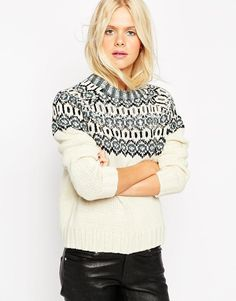 ASOS | ASOS Christmas Jumper In Pattern with Embellishment at ASOS