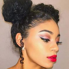 curly hair space buns