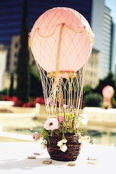 Floral hot-air balloon centrepiece.