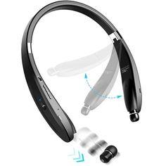 Neckband Hi-Fi Wireless Bluetooth Headset w Retractable Earbuds Hands-free Mic for iPad, iPhone 6 Plus - Samsung Galaxy Edge, Edge+, Note 5 4 3 - LG - Moto Z Droid, Force Sony Tv, Apple Iphone, Iphone 5c, Neckband Headphones, Verizon Phones, Smartphone, Lg K10, Ipad, S5 Mini