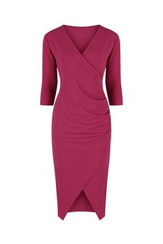 88641ae81 Raspberry Pink 3/4 Sleeve Crossover Split Wrap Dress. Vintage Inspired DressesVintage  Style ...