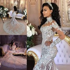 9e6699283f1 Gorgeous Mermaid Wedding Dresses Lace Appliques Sheer High Neck Bridal Gowns  With Long Sleeve Appliques Crystal Wedding Dress Wedding Dresses For 2015  ...