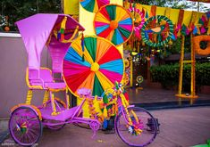 Colorful Tricycle for a Mela Themed Mehndi Party, Decor Ideas for fun and fancy Henna function