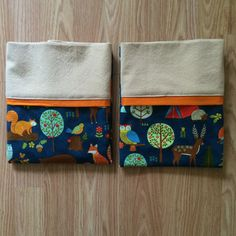 Set of 2 Standard Sized Handmade Pillowcases in Forest by Palindrome Dry Goods. 100% cotton, machine washable.