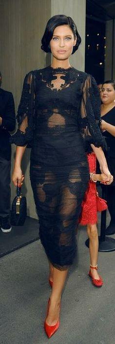 Bianca Balti in a sheer lace Dolce & Gabbana dress