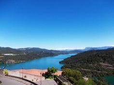 Paisaje del pantano de El Grado, que se divisa desde el Santuario de Torreciudad, en la provincia de Huesca (Aragón)