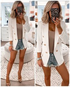 Shop Your Screenshots™ with LIKEtoKNOW.it, a shopping discovery app that allows you to instantly shop your favorite influencer pics across social media and the mobile web. Short Outfits, Summer Outfits, Girl Outfits, Casual Outfits, Cute Outfits, Balmain Blazer Outfits, Best Blazer, Blazer Buttons, Work Attire