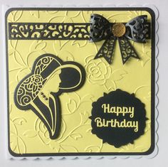 Embossing folder is Tonic's Roseanne. Sentiment from Robert Addams dies. Art Deco Cards, Tattered Lace Cards, Craftwork Cards, Bday Cards, Elegant Girl, Sue Wilson, Red Hats, Embossing Folder, Die Cutting