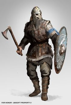 'For Honor' Viking Warrior concept by Guillaume Menuel of ArtStation Fantasy Character Design, Character Concept, Character Inspiration, Character Art, Viking Warrior, Viking Age, Viking Shield, Woman Warrior, For Honor Characters