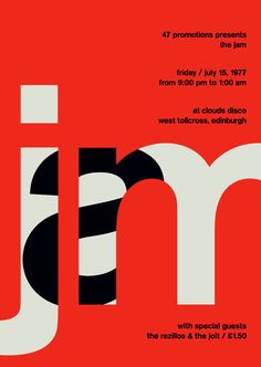 Exclusive: The winners of the TDC 2015 - Part Exklusiv: Die Gewinner des TDC 2015 – Part 6 the jam at clouds disco, 1977 – swissted - The Jam, Poster Print, Poster S, Art Print, Type Posters, Cool Posters, Creative Posters, Id Design, Print Design