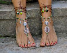 Rasta Spirale barfuss Sandalen braun und antik von PanoParaTanto
