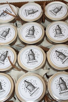 Cute little jars of honey would be sweet gifts for your wedding party.