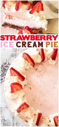 ICE CREAM PIE- Strawberry Ice Cream Pie is a simple dessert made with a graham cracker crust, hot fudge and strawberry ice cream. This ice cream pie recipe comes together quick with just a few ingredients. from BUTTER WITH A SIDE OF BREAD