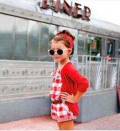 I always give in to Quinoa's begging. First she wanted only the retro romper, quickly followed by the sunglasses, head scarf, and 50s diner as accessories. I'm such a sucker.