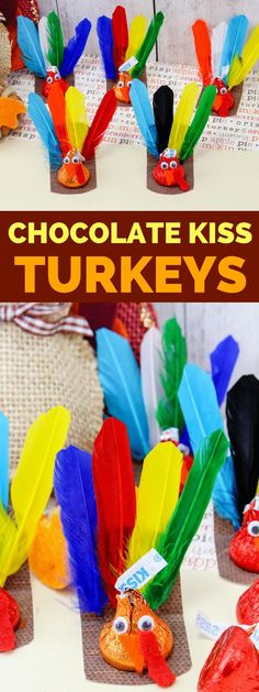 Are you looking for a fun Thanksgiving Craft for your kids? This Chocolate Kiss Turkey Thanksgiving Craft is fun and easy to make. The kids will love them! After all, what is better than a craft that includes candy? Cute Kids Crafts, Easy Fall Crafts, Crafts For Kids To Make, Kid Crafts, Kids Diy, Thanksgiving Food Crafts, Holiday Crafts, Holiday Fun, Christmas Time