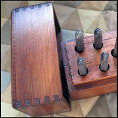 Vintage Sears Roebuck Steel Figures Stamp Set in Wooden Dovetailed Box   PattyAnn - Metal Craft on ArtFire