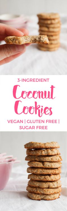 The incredible 3 ingredient coconut cookies! The incredible 3 ingredient coconut cookies! Sugar Free Baking, Sugar Free Treats, Sugar Free Desserts, Sugar Free Recipes, Gluten Free Desserts, Vegan Gluten Free, Dessert Recipes, Dairy Free, Jello Recipes