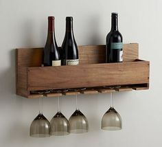 DIY Wine bottle and glass rack. Free plans by Jen Woodhouse