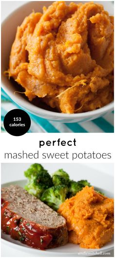 Perfect Mashed Sweet Potatoes! Add a little cinnamon, ginger, and nutmeg, and prepare to have the best side dish! The recipe can easily be made #vegan with coconut oil and unsweetened almond milk. 152 calories per serving #sidedish #healthy