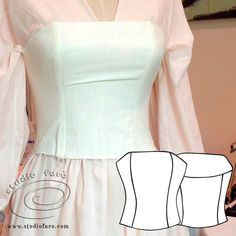 Corset Pattern Making Worksheet with two style variations and basic pattern making information. Pdf Sewing Patterns, Clothing Patterns, Dress Patterns, Sewing Designs, Fashion Sewing, Diy Fashion, Chudi Neck Designs, Recycled Dress, Corset Pattern