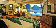 The Jade Mountain Resort Santa Lucia is situated on Morne Chastanet, with a view over Santa Lucia's Piton World Heritage site and, of course, the Caribbean sea Vacation Destinations, Dream Vacations, Vacation Spots, Honeymoon Spots, Vacation Travel, Family Vacations, Places To Travel, Places To See, Caribbean Resort